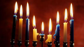 Lighting Hanukkah Candles Hanukkah celebration. Jewish holiday hannukah symbols Lighting Hanukkah Candles Hanukkah celebration judaism menorah tradition stock video footage