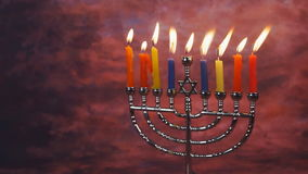 Lighting Hanukkah Candles Hanukkah celebration. Judaism menorah tradition stock footage