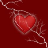 Lighting heart. Heart storm on red background Royalty Free Stock Photo
