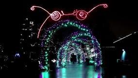 Lighting holiday decoration at night stock video footage