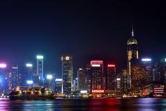 Lighting of Hongkong Victoria harbor 2016. Night view and lightinging of Hongkong victoria harbor Stock Photo