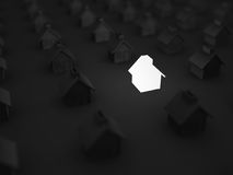 Lighting House Amoung Others In The Dark. Real Estate Concept Stock Images