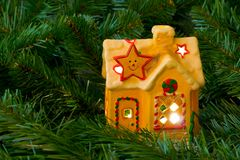 Lighting house and christmas tree Stock Photography