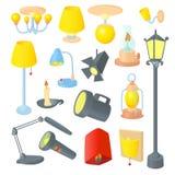 Lighting icons set , cartoon style Royalty Free Stock Photos