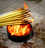Lighting incense sticks Royalty Free Stock Photography