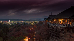 Lighting from the kyoto tower and old temple in the night at kiy. Omizu temple japan Stock Photo
