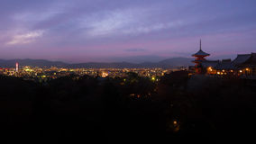 Lighting from the kyoto tower and peak of temple in the night at. Kiyomizu temple japan Stock Photography