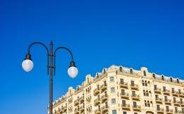 Lighting lamp on a column Stock Photos
