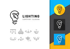Lighting and lamp logo, concept lamps store, line icon set Stock Photos