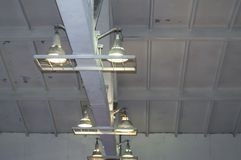 Lighting with lamps located on the ceiling in an industrial room.  stock image