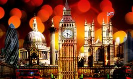 Lighting on London Skyline Landmark Buildings stock photography