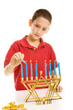 Lighting the Menorah Stock Photos