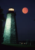 Lighting the night. A lighthouse lit up in the evening to warn oncoming ships Royalty Free Stock Images