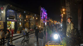 Lighting the night view of the pingyao county street Stock Image
