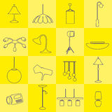 Lighting outline icons set yellow background Royalty Free Stock Photography