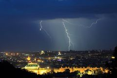 Lighting over Prague royalty free stock images