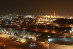 Lighting of Petrochemical factory in night Time Stock Photo