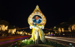Lighting picture birthday celebration (father day) King of Thailand Stock Photography