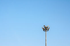Lighting pole with blue sky Royalty Free Stock Photos