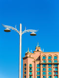 Lighting pole near Atlantis, The Palm resort. In Dubai Stock Image