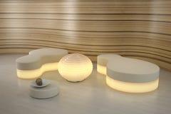 Lighting pouffe in modern room. vector illustration