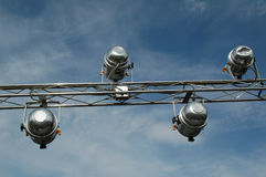 Lighting rig. For outdoor fashion show Royalty Free Stock Photo