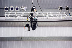 Lighting rig with spotlights Royalty Free Stock Photos