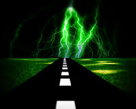 Lighting Road 4. An image of a road with the lightning at the end of it Stock Photos
