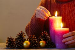 Lighting Rustic Candles Stock Photo