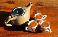 The lighting and shadow of morning tea time Royalty Free Stock Photos