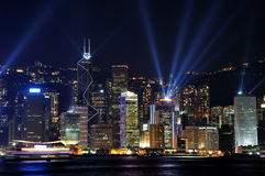 Lighting show of Hongkong Victoria harbor Stock Photography