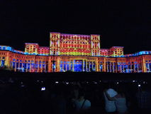 Lighting show at romanian parliament Royalty Free Stock Photography