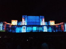 Lighting show at romanian parliament Royalty Free Stock Photo