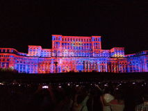 Lighting show at romanian parliament Royalty Free Stock Image