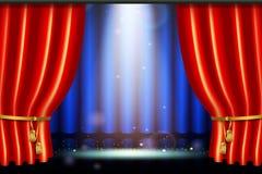 Lighting spotlight effect with realistic red curtain. Scene illumination show, bright lighting spotlight effect with realistic red curtain, stage in the theater vector illustration