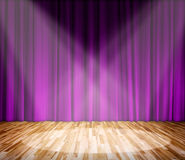Lighting on stage. Purple curtain and wooden floor Stock Photo