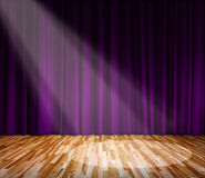 Lighting on stage. Purple curtain and wooden floor Royalty Free Stock Photography