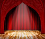 Lighting on stage. red curtain and wooden floor interior background. Background. lighting on stage. red curtain and wooden floor interior background. Interior Stock Photography
