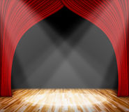 Lighting on stage. red curtain and wooden floor interior background. Interior template for product display, interior theater, interior stage background Royalty Free Stock Images