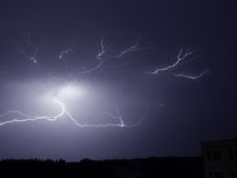 Lightning storm. Storm lightning weather night rain Royalty Free Stock Images