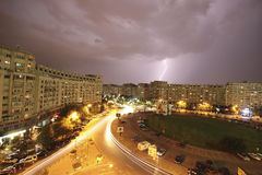 Lighting storm in Bucharest Stock Photo