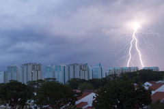 Lighting strike on the housing area Royalty Free Stock Photos