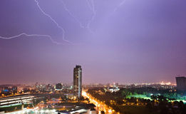 Lighting strikes. In jurong at night Royalty Free Stock Image
