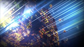 Lighting technology cube. Abstract background with motion particles