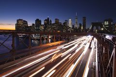 Lighting traffic in New York City royalty free stock photography