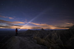 Lighting Up the Night over Bardenas Royalty Free Stock Images