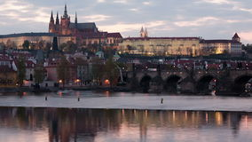 Lighting up of Prague castle Royalty Free Stock Images