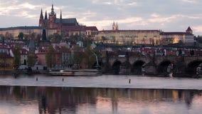 Lighting up of Prague castle stock footage