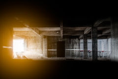 Lighting from window in abandoned building Royalty Free Stock Photos