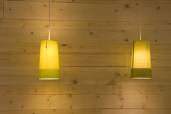 Lighting and wood wall interiors Stock Image
